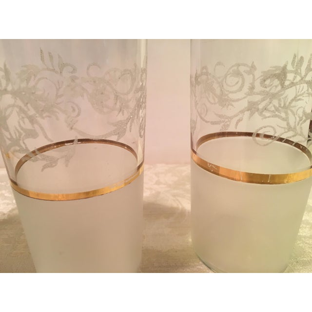 Gold Mid-Century Frosted Highball Glasses - Set of 4 For Sale - Image 8 of 8