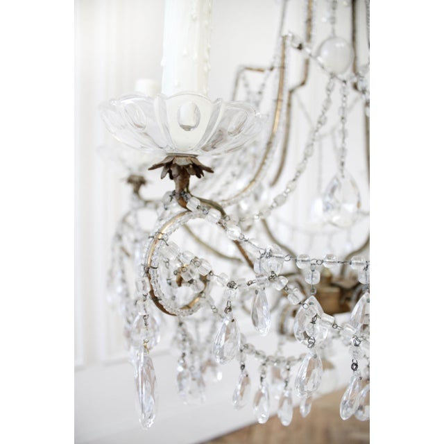 Metal Antique French Beaded Arm Chandelier For Sale - Image 7 of 9