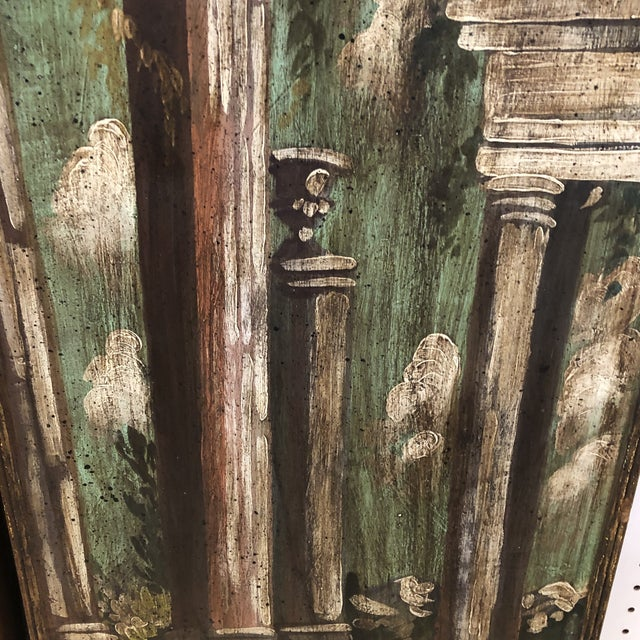 Plastic Vintage Mid Century Hand Painted Classical Ruins Panels- A Pair For Sale - Image 7 of 10