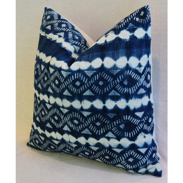 Indigo Blue & White Mali Tribal Feather/Down Pillow - Image 6 of 8