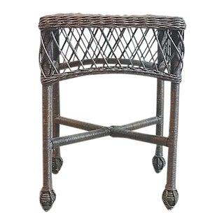 Vintage Nantucket-Style Wicker Side Table