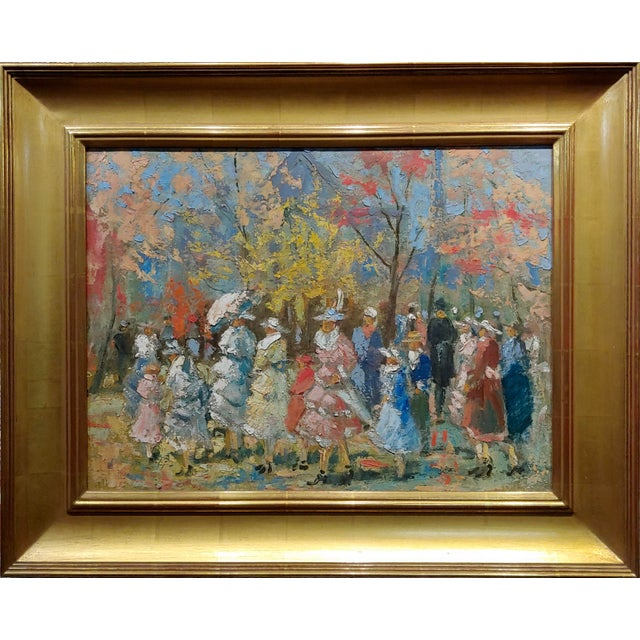 French Impressionist - Ladies with Parasol in an Outdoor Party - c1900s oil painting on board circa 1900s frame size 37 x...