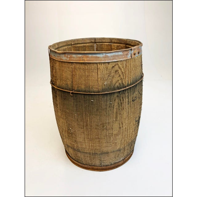 Vintage Rustic Banded Weathered Wood Nail Keg For Sale - Image 4 of 11