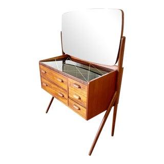 Danish Modern Teak Vanity or Table by Sigfred Omann For Sale