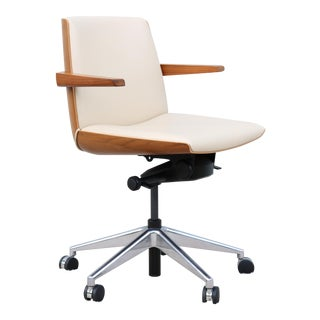 Mid-Century Modern Style Bassam Fellows for Geiger Walnut Clamshell Office Chair For Sale