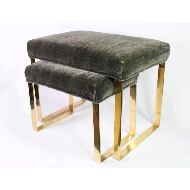 Karl Springer Hollywood Regency Brass & Vintage Sage Green Alpaca Mohair Bench - Large For Sale - Image 4 of 6