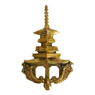 Solid Brass Pagoda Door Knocker For Sale