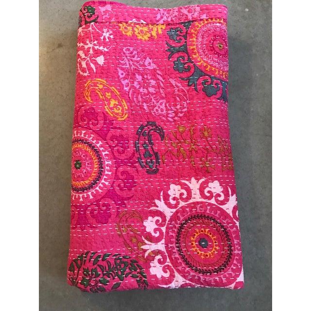 Indian Pink Kantha Blanket Throw - Image 3 of 5