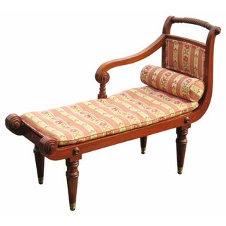 Regency Style Carved Upholstered Caned Settee For Sale