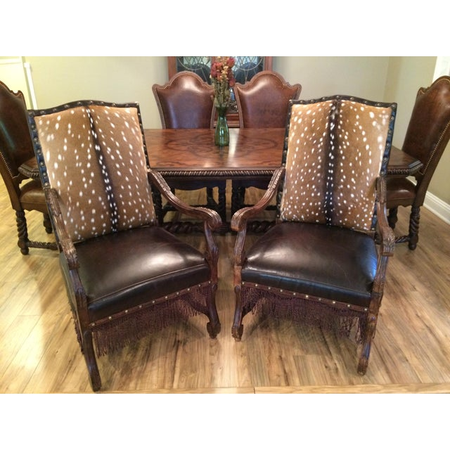 These western style luxury armchairs are in excellent condition and made with quality materials. Both chairs feature...