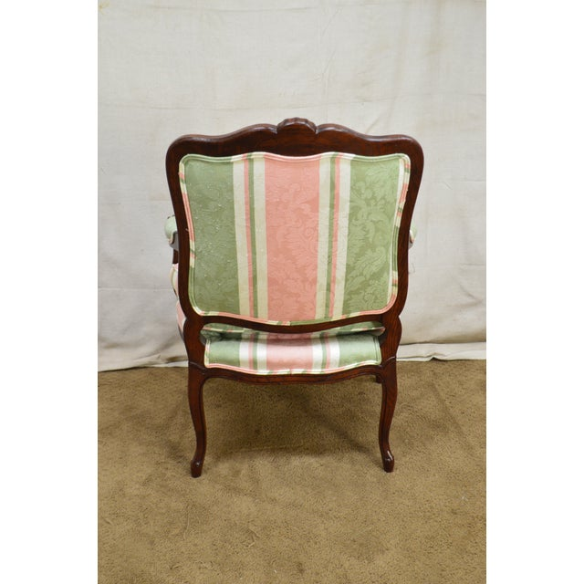 French Louis XV Style Custom Quality Fauteuil Arm Chair For Sale - Image 12 of 13