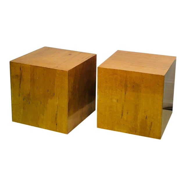 Late 20th Century Burl Wood Cubes or Side Tables- A Pair For Sale