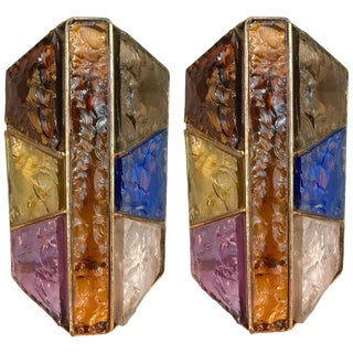 Pair of Sconces Hammered Glass Metal Gold Leaf by Longobard, Italy, 1970s For Sale