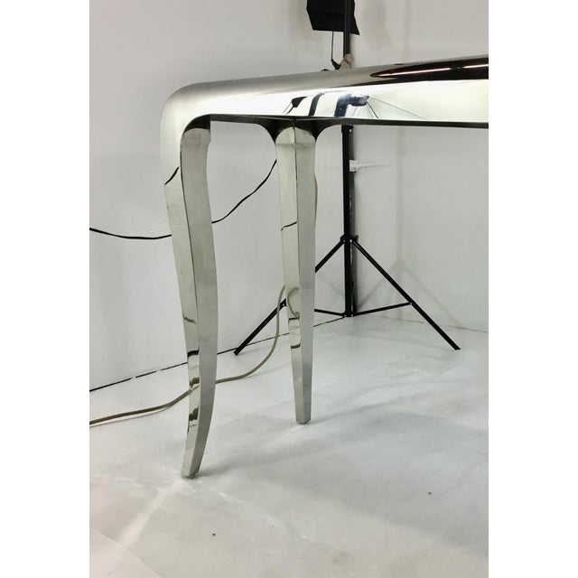 Caracole Caracole Chrome and Carrara Marble Magnificent Console Table For Sale - Image 4 of 5
