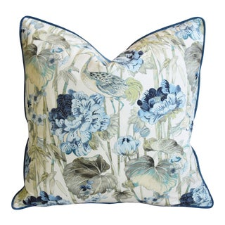 "Chinoiserie Crane & Floral Feather/Down Pillow 24"" Square For Sale"