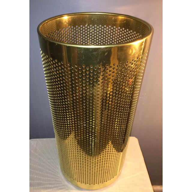 Beautiful unique vintage Italian brass trash can could be used to hold umbrellas. Marked made in Italy on label late 20th...