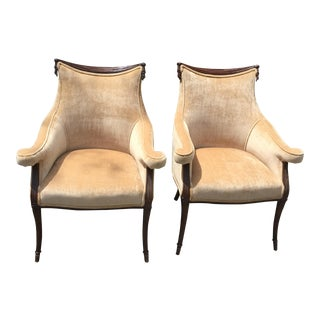 1960s Art Deco Beige Velvet Armchairs - a Pair