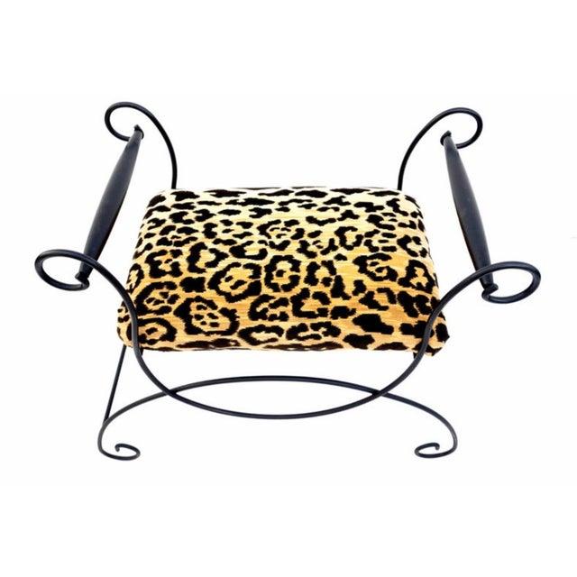 Art Deco Mid-Century Hollywood Regency Leopard Velvet Empire Style Vanity Bench For Sale - Image 3 of 10