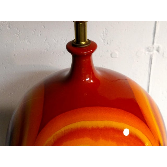 Retro Vintage Orange Ceramic Table Lamp - Image 4 of 6