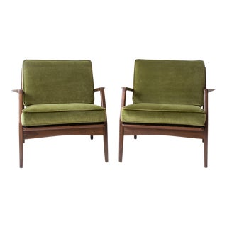 Pair of Reupholstered Kofod Larsen for Selig Lounge Chairs For Sale
