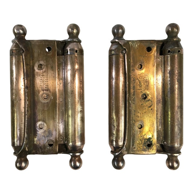 Antique 1905 Brass-Plated Swinging Door Hinges - a Pair For Sale