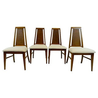 Mid Century High Back Dining Chairs - S/4