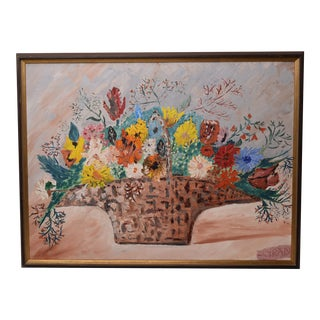 1974 Original Botanical Wild Flowers Still Life Impasto Oil Painting by French Artist Cyran For Sale