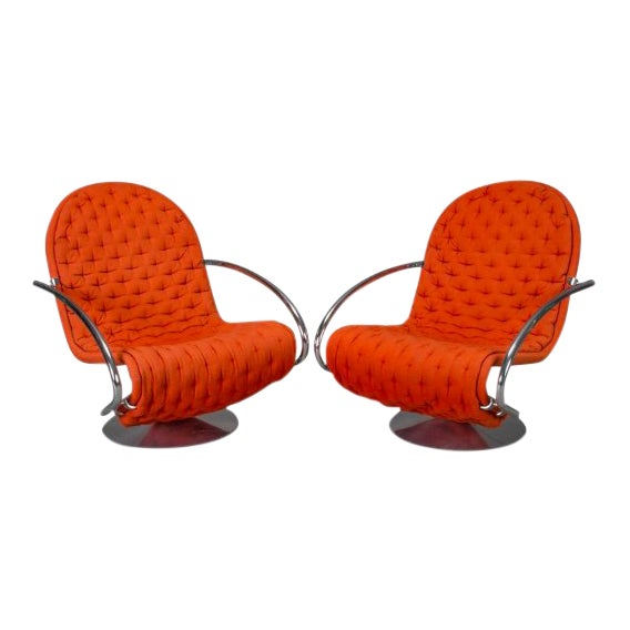 1-2-3 Series Easy Chair Armchairs by Verner Panton for Fritz Hansen- A Pair For Sale