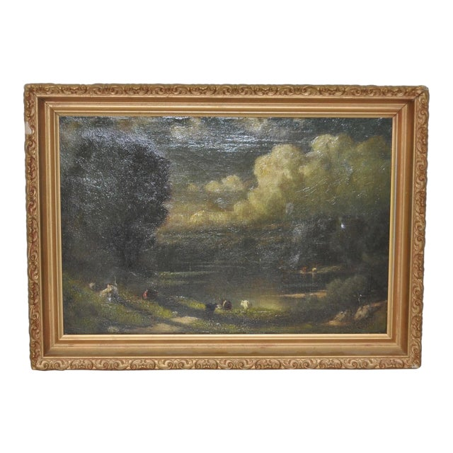 19th C. Country Landscape w/ Cows & Figure For Sale