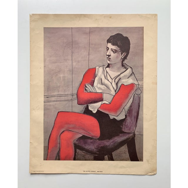 """Vintage Pablo Picasso """"The Seated Acrobat"""" lithograph printed by Penn Prints, New York in 1970's. This print is unframed...."""
