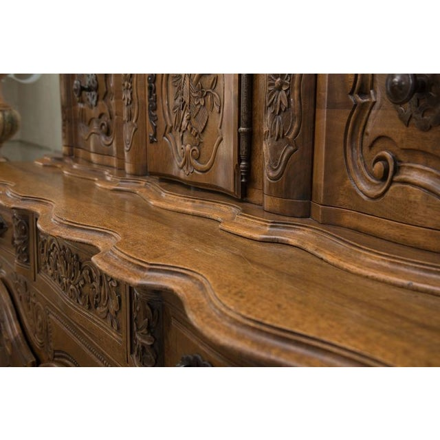 Brown 20th Century, French, Louis XV Style Walnut Buffet with Super Structure For Sale - Image 8 of 10