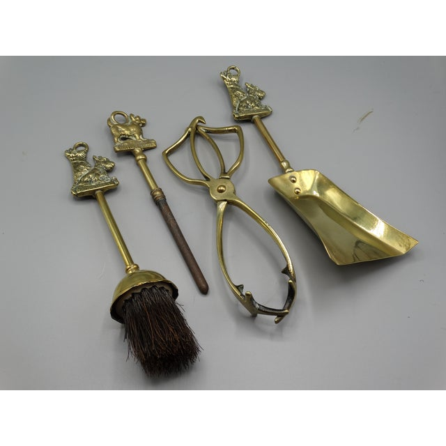Gold English Brass Terrier Dog Fireplace Tools Set For Sale - Image 8 of 9
