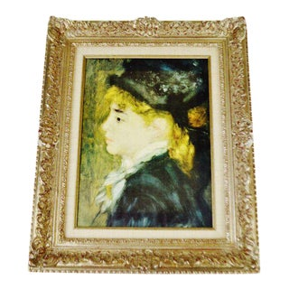 Vintage Rococo Style Framed Renoir Giclee Titled Portrait Of Margot For Sale