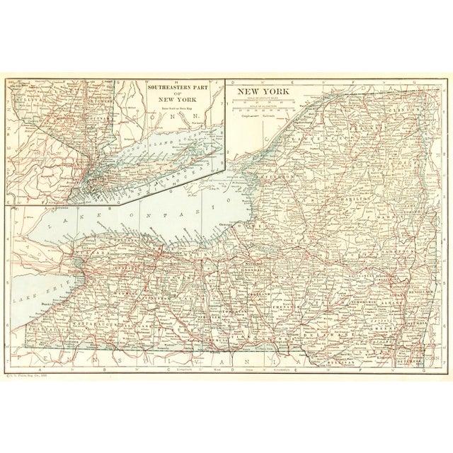 Illustration Vintage Map of New York, 1928 For Sale - Image 3 of 3