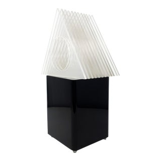 Vintage Black Lucite Table Lamp With Clear Triangle Shade For Sale