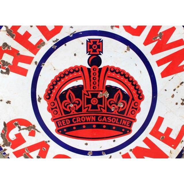 Red Crown Gasoline Porcelain Sign - Image 2 of 4