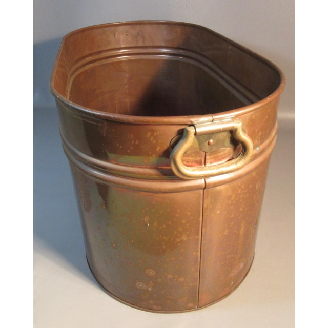 Primitive Vintage Copper Lined Copper Boiler Wash Tub For Sale - Image 3 of 6