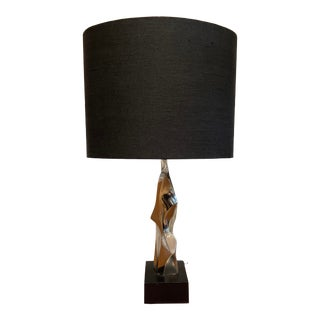 Vintage Chrome Sculptural Table Lamp With Black Linen Shade For Sale