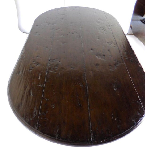 Custom Oval Beehive Pedestal Dining Table in Walnut Wood For Sale In Los Angeles - Image 6 of 7