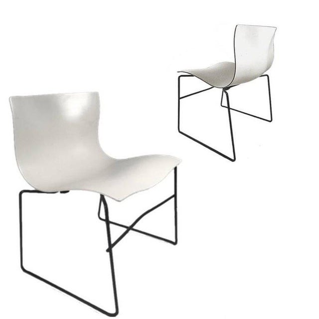 Knoll Massimo Vignelli Handkerchief Stacking Chair in Black & White For Sale - Image 9 of 10