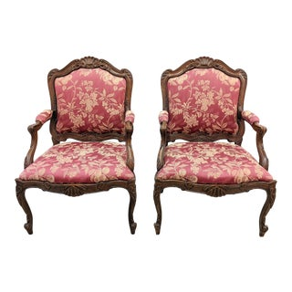 French Louis XV Style Carved Walnut Arm Chairs by Sherrill- a Pair For Sale