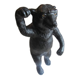 1940s Figurative Leather Black Bear Sculpture With Glass Eyes For Sale