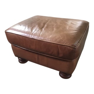 20th Century Traditional Ralph Lauren Style Leather Ottoman For Sale