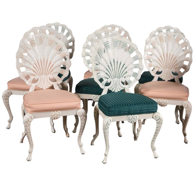 Set of Eight Shell Back Dining Chairs For Sale