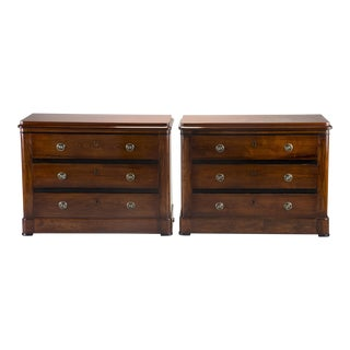 Pair Mahogany Chests With Black Detailing