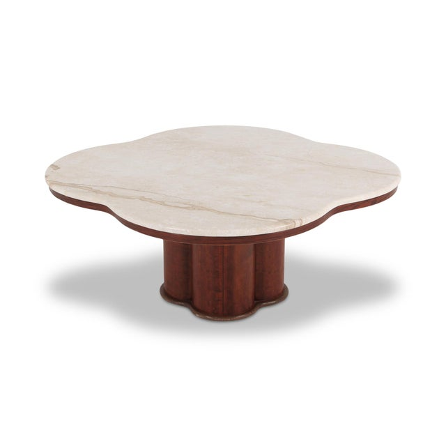 Jean Royère Jean Royere Style Travertine Coffee Table For Sale - Image 4 of 8