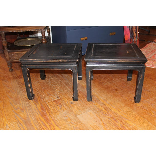 Wood 1960s Black Chinese End Tables - a Pair For Sale - Image 7 of 7