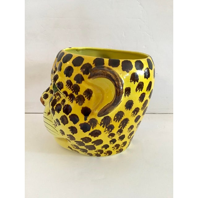1960s 1960s Yellow and Brown Spotted Leopard Cache Pot For Sale - Image 5 of 7