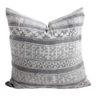 Vintage Batik Gray Accent Pillow For Sale