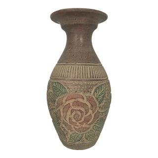 Rustic Terra-Cotta Floor Vase For Sale